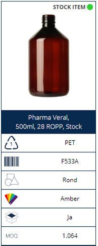 500ml PET bottle Pharma Veral