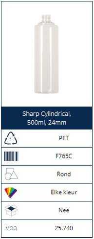 500ml PET bottle Sharp Cylindrical