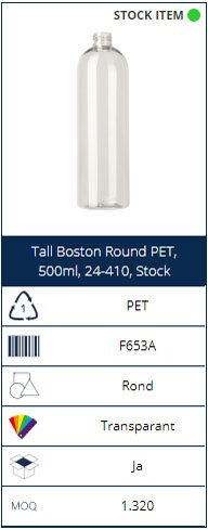 500ml PET bottle Tall Boston Round