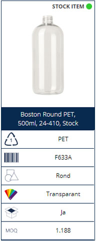 500ml PET bottle Boston Round
